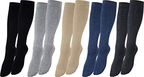 Vitasox 44458 Stützstrümpfe für Damen & Herren, Stützkniestrümpfe aus Baumwolle mit Kompression für Flug, Reise, Büro und Auto, Thrombose Socken gegen geschwollene Beine, 2 Paar anthrazit 39/42