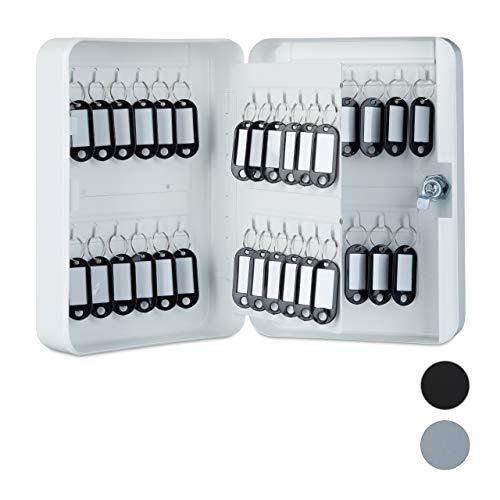 Relaxdays Schlüsselkasten Metall, abschließbar, 48 Haken, Schlüsselschrank inkl. Schlüsselanhänger, 25x18x7,5cm, weiß, Schlüssel
