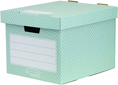 Bankers Box Style Series Aufbewahrungsbox aus 100% recyceltem Karton, 4-er Pack, grün/weiß