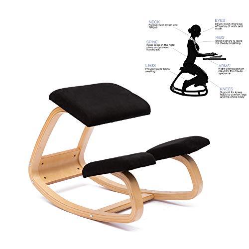 ENMSPLUS Ergonomischer Kniestuhl Bürostuhl kniender Hocker Wirbelsäulen korrektur Stuhl-Multi Farben (Wildleder Schwarz)