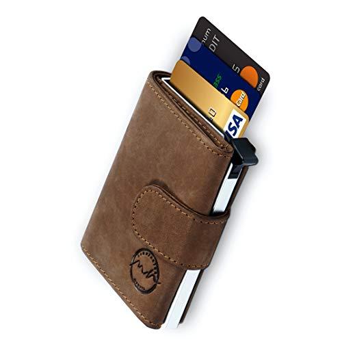 POP-UP Kreditkartenetui | TÜV geprüfter RFID NFC Schutz | Wallet für 10 Karten und Fach für Scheine | Geldbörse aus echtem Leder für Damen und Herren mit gratis Geschenkverpackung