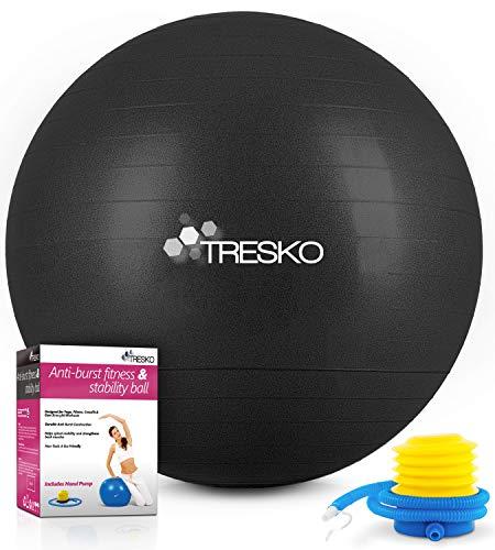 TRESKO Gymnastikball mit GRATIS Übungsposter inkl. Luftpumpe - Yogaball BPA-Frei   Sitzball Büro   Anti-Burst   300 kg,Schwarz,65cm (für Körpergröße 155 - 175cm)