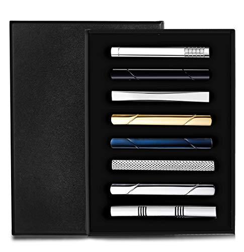 Milacolato 8 Stück Krawatte Clips Set für Männer Krawattenklammer Set für...