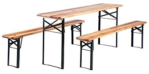 Stagecaptain Hirschgarten Bierzeltgarnitur 177 cm Länge (1x Tisch, 2 x Stühle,...