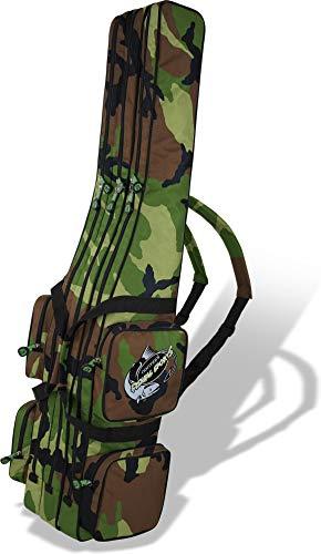 Rutentasche Rod Case Angelkoffer Futteral mit 3 Ruten-Fächern, Verschiedene Längen wählbar - stark wasserabweisender Fishing Rucksack Farbe Woodland 2 Innenfächer Größe 150 cm
