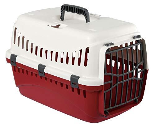 Kerbl Transportbox Expedion (Tiertransportbox für Haustiere / Katzen / Hunde / Kaninchen, aus Kunststoff, Maße 45x30x30 cm, Belastbarkeit bis 10 kg, Farbe creme/bordeaux) 81348