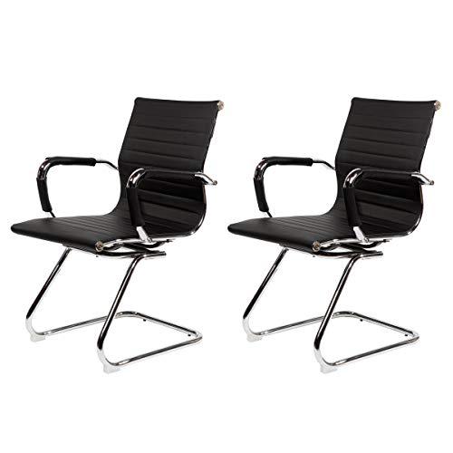 SVITA Elegance 2X Besucherstuhl Kunstleder Freischwinger-Stuhl mit Armlehne Konferenzstuhl ohne Rollen Armlehnstuhl Office-Stuhl Schwarz