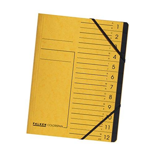 Original Falken Premium Ordnungsmappe. Made in Germany. Aus extra starkem Colorspan-Karton DIN A4 12 Fächer und 2 Gummizüge mit Organisationsdruck gelb Ringmappe Register-Mappe