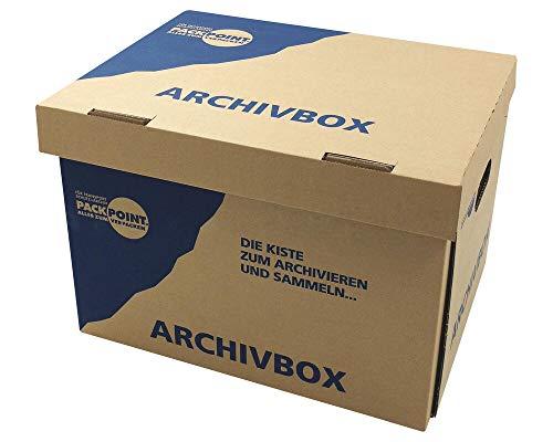 1-PACK Archivbox Lagerbox 400x320x290mm extrem stabil, bis 250kg stapelbar/Ausführung: Braun mit Beschriftung'Archivbox', 10 Stück