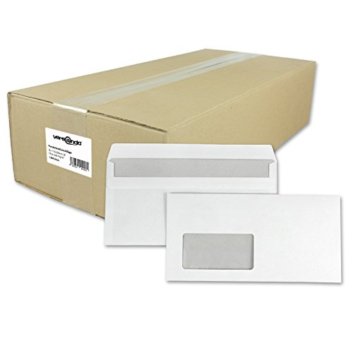 versando 1000 Briefumschläge, Versandtaschen mit Fenster, selbstklebend, DIN lang,...
