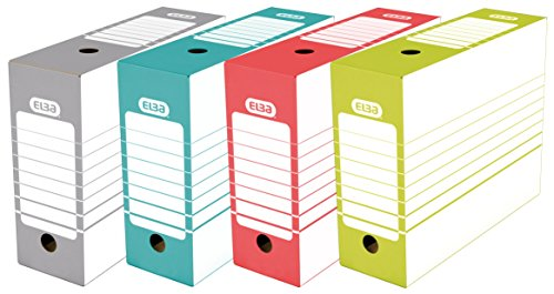 ELBA 400064941 Archivbox tric 10 cm breit 20 Stück für Hängeregistratur ohne Reiter in den Farben: grau, grün, rot, und türkis