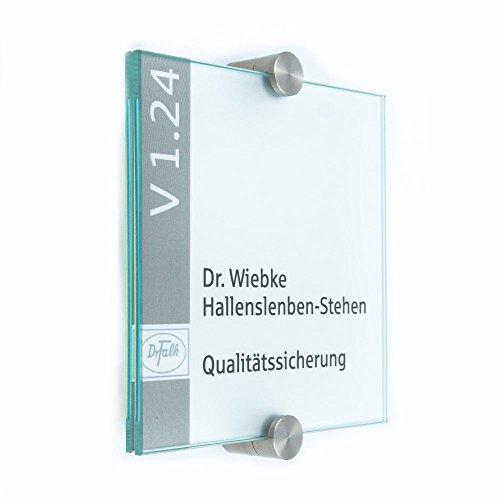Türschild Glas für Büro, Vitrum K, 130/130 mm, 2 Edelstahl Klemmhalter