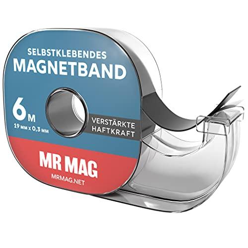 MrMag Magnetband selbstklebend - 6m - hochwertiges Magnet-Klebeband im Spender für...