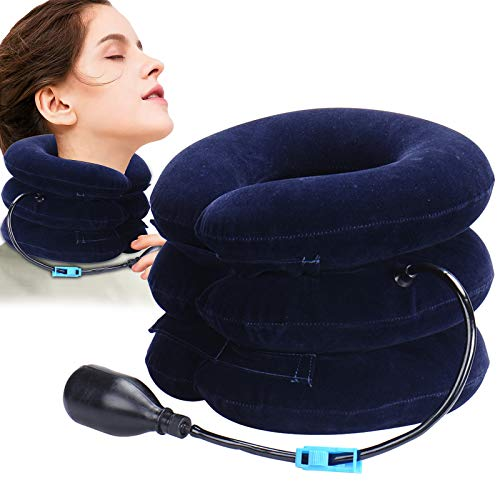 Hals Zugvorrichtung, Nackenstütze, Nacken Cervical Traction, Verstellbares Kopf-und Nackenmassagegerät, Lindert Nackenschmerzen und Schulterrücken