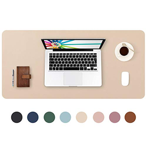 DOBAOJIA Erweitertes Mausepad Große Mausmat Schreibtischmatte Schreibtischunterlage für Laptop/Tastatur/Maus Schreibblock, PU Leder Wasserdicht + Wildleder rutschfest 80 x 40cm (Beige)