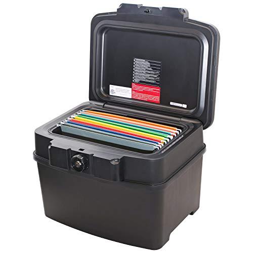 HMF 250453 Feuerfeste Wasserdichte Dokumentenbox | DIN A4 | Hängeregister | schwarz