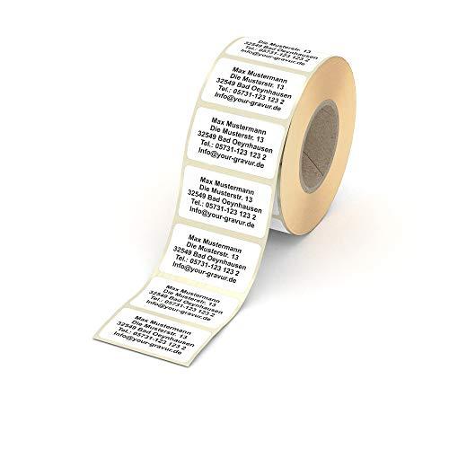 Adressetiketten personalisiert – weiße Namensaufkleber in 57x32mm – schwarzer Druck auf Haftpapier – 50 Stk. – von Your Gravur