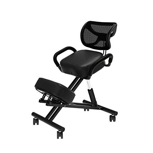 sogesfurniture Kniestuhl Kniehocker Sitzhocker Bürohocker Arbeitsstuhl Ergonomischer Stuhl in schwarz, höhenverstellbar, bequem gepolstert, BH-YKTH-EKC-B