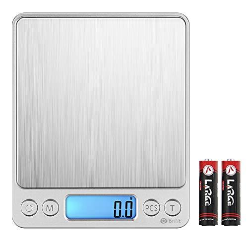 AMIR Digitale Küchenwaage bis 3 kg, hohe Präzision auf bis zu 0,1 g, Briefwaage mit Tara-Funktion