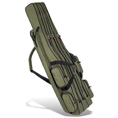 Rutentasche Rod Case Angelkoffer mit 3 Fächern, Verschiedene Längen wählbar - Oliv - 170 cm