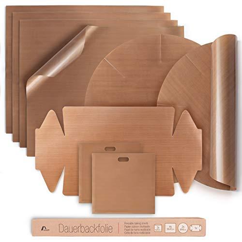 Amazy Dauerbackfolie (9er Set) – Das Premium Backpapier – Wiederverwendbar, hitzebeständig, antihaftbeschichtet und spülmaschinenfest (9er Pack – 4x eckig, 2x Springform rund, 1x Kastenform, 2x Toasttasche)