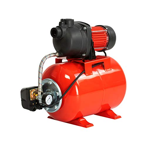 Grafner Hauswasserwerk 1200 Watt (max. 5 bar, 25 Liter Kessel, Fördermenge 3800 Liter/Stunde, Start/Stop Automatik, Druckschalter, Manometer, Trockenlaufschutz) Hauswasserautomat Gartenpumpe