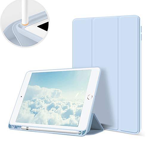 Aoub Neues iPad (2019 7. Generation / 2020 8. Generation) 10,2' Hülle mit Stifthalter Dünn Leicht Smart Schutzhülle Standabdeckung Auto Aufwachen/Schlafen für Apple iPad 10,2 Zoll Modell,Hellblau