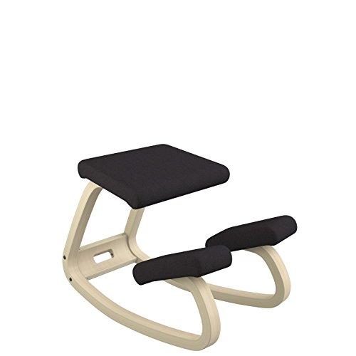 Varier Variable balans - Der originale Kniestuhl, optimal fürs Arbeiten zuhause - Stoff schwarz und Holzteller natur lackierte Esche