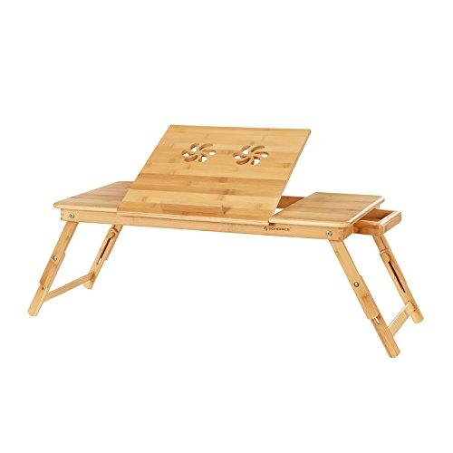 SONGMICS Laptoptisch, klappbarer und höhenverstellbarer Notebooktisch, mit Lüftungslöchern, für Links- und Rechtshänder, Betttisch aus Bambus mit Schublade, 72 x (21-29) x 35 cm (B x H x T) LLD004