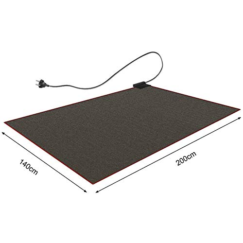 CRAVOG Heizteppich 140x200cm Teppichheizung Beheizbare Teppichunterlage Fußbodenheizung Schwarz