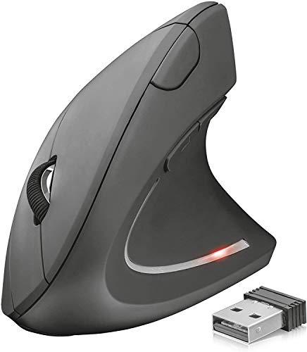 Trust Verto Wireless Vertikale Ergonomische Maus (Vorbeugung Gegen Mausarm/Tennisarm (RSI Syndrom), Nur für Rechtshänder) Schwarz