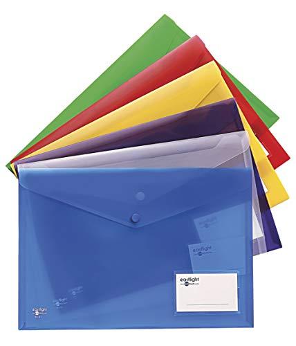 18er Pack Dokumentenmappe Dokumententasche transparent DIN A4+ 3 Stück je Farbe mit Druckknopf und Tasche für Visitenkarten Kapazität 150 Blatt