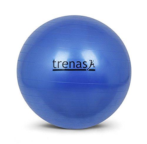 trenas Berstsicherer Gymnastikball - Sitzball - 75 cm - Blau - mit Pumpe