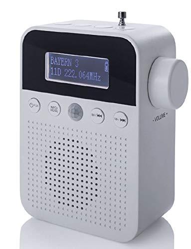NEWTRO DAB STECKDOSENRADIO MIT BEWEGUNGSMELDER INKL. AKKU, portabler Radio, ideales Badradio mit automatischer EIN- und Abschaltung, Weckfunktion, USB-Ladebuchse, DAB+ Digitalradio