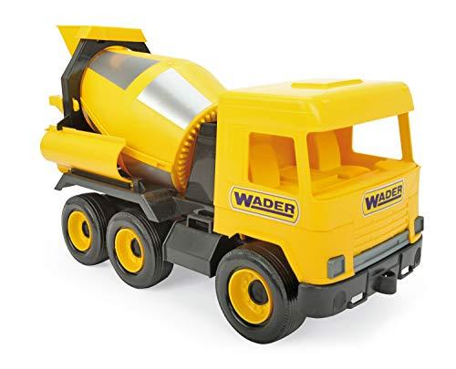 WADER 32124 Middle Truck Betonmischer mit drehbarer Mischtrommel, ab 3 Jahren, ca. 43 cm, gelb, Einheitsgröße
