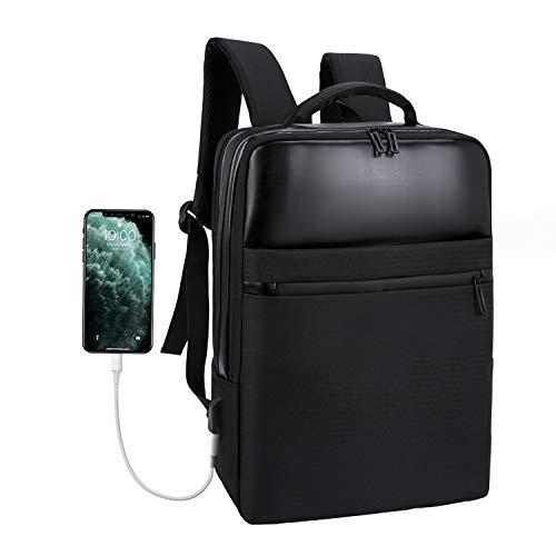 Xnuoyo Business Laptop Rucksack, Wasserdicht Notebook Backpack, 15,6 Zoll Schulrucksack mit USB-Ladeanschluss, Casual Business Daypack Reiserucksack für Schule Reisen Arbeit Camping (schwarz)