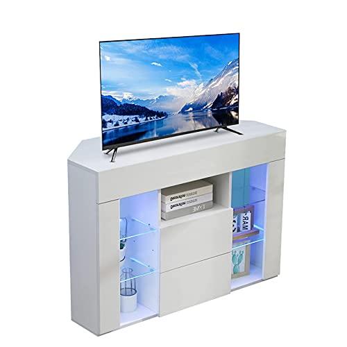 Dripex TV Lowboard Eckschrank Board Fernsehtisch Eckkommode mit LED Beleuchtung Weiß Hochglanz mit Klappe