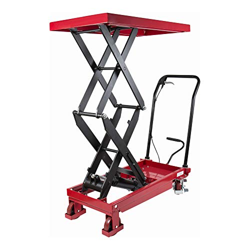 STIER Doppelscheren Hubtischwagen, Fahrbarer Hubtisch mit Traglast 350 kg, Plattform 910x500 mm, Max. Hubhöhe 1300 mm, hydraulisch, Polyurethan-Bereifung