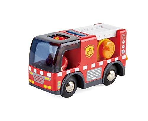 Hape E3737 E3737-Feuerwehrauto mit Sirene, Spielfigur &-Fahrzeug, Eisenbahn, rot