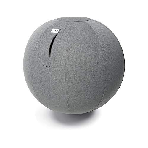 VLUV SOVA Stoff Sitzball 60-65cm, ergonomisches Sitzmöbel, atmungsaktiv und langlebig, mit Tragegriff und Bodenring, inkl. Handpumpe, Farbe: Ash (Mittelgrau)
