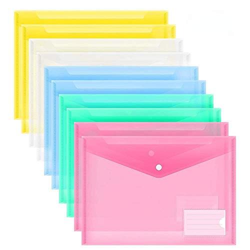 A4 Dokumententasche,Farbtransparente Dokumententasche Mit Etikett Dokumentenmappe Druckknopf für Dokument Speicherung (10 Stück)