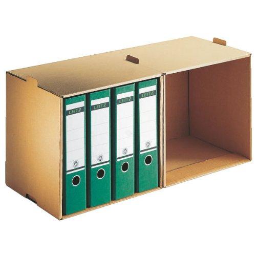 Leitz Archiv Ordner-Depot, Ideal für Ordner, Vordere Öffnung, Extrastarke Wellpappe, Faltbar, Naturbraun, Leitz Premium Archiv Serie, 60820000