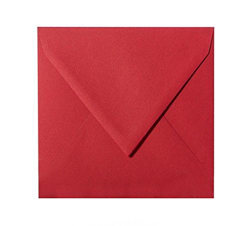 Paper24 25 quadratische Briefumschläge (120g), Farbe: Weinrot, Format: 150 x 150 mm 15 x 15 cm mit Dreieckslasch