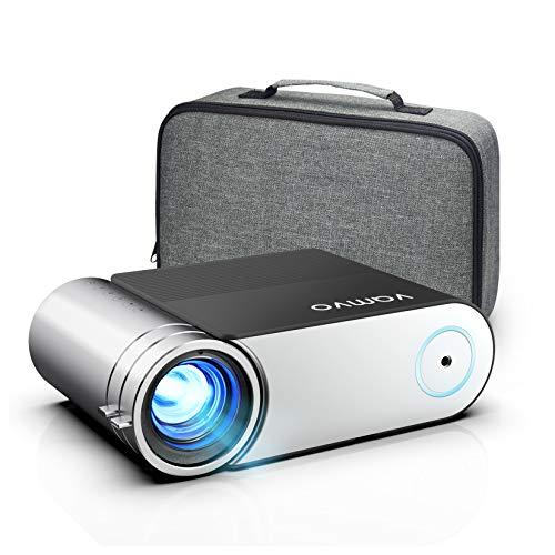 Beamer, Vamvo Mini Beamer, Projektor 1280*720P mit Tragetasche unterstützt 1080P Multimedia LED 50000 Stunden Heimkino und Fußball Spiel Spaß Kompatibel mit HDMI/VGA/USB/AV