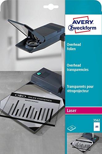 AVERY Zweckform 3562 Overhead-Folien für S/W Laserdrucker und -Kopierer (25 Transparentfolien, A4, spezialbeschichtet, stapelverarbeitbar, Folienstärke 0,10mm, lösemittelfrei)