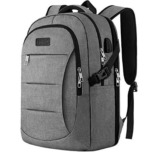 IIYBC Business Laptop Rucksack, 15,6 Zoll Herren Damen Reise Rucksack mit USB-Port, Freizeitrucksack mit Gepäckband, verstärke Nähte, Uni Schule Rucksack Tasche Notebook Grau