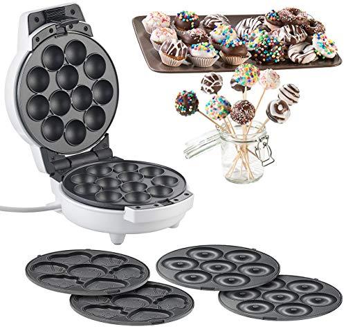 Rosenstein & Söhne Cake Pop Maker: 3in1-Donut-, Cupcake- und Cakepop-Maker, antihaftbeschichtet, 600 Watt (Donatmaker)
