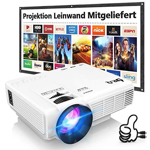 Beamer, DR.Q HI-04 Beamer mit 100 Zoll Screen, Mini Beamer 5000 Lumen Unterstützt 1080P Full HD, Native 720P Projektor Kompatibel mit TV Stick Smartphone HDMI TF USB, Heimkino Beamer, Weiß.
