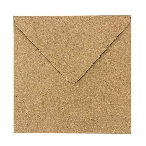 Kraftpapier Umschläge, 100 Stück | hohe Qualität: 110 g/m² | Briefumschläge, Kuvert, Briefkuvert, Briefhülle für Grußkarten, Einladung, Geburtstagskarten (15,5 x 15,5 cm)