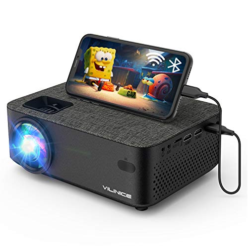 Mini Beamer, VILINICE Heimkino Beamer Full HD, WiFi Projektor mit 5500Lux unterstützt 1080P Multimedia 240' , Video Beamer LED kompatibel mit TV Stick, HDMI, SD, AV, VGA, USB, PS4, Smartphone